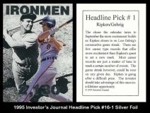 1995 Investors Journal Headline Pick #16-1 Silver Foil