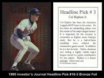 1995 Investors Journal Headline Pick #16-3 Bronze Foil
