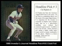 1995 Investors Journal Headline Pick #16-3 Gold Foil