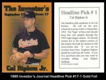 1995 Investors Journal Headline Pick #17-1 Gold Foil