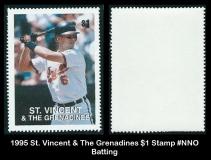 1995 St Vincent & The Grenadines $1 Stamp #NNO Batting