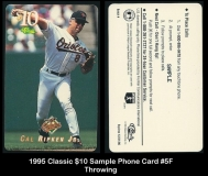 1995 Classic $10 Sample Phone Card #5F Throwing