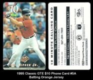 1995 Classic GTE $10 Phone Card #5A Batting Orange Jersey