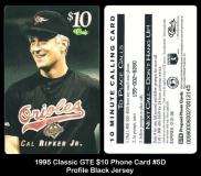 1995 Classic GTE $10 Phone Card #5D Profile Black Jersey
