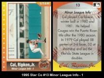 1995 Star Co #13 Minor League Info 1