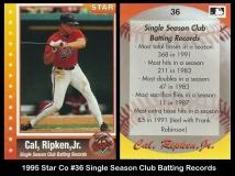 1995 Star Co #36 Single Season Club Batting Records