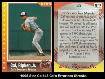 1995 Star Co #43 Cals Errorless Streaks