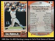 1995 Star Co #55 Starting Lineup in Cals First Game of Streak