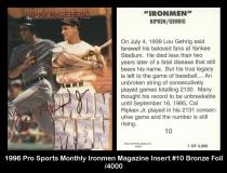 1996 Pro Sports Monthly Ironmen Magazine Insert #10 Bronze Foil