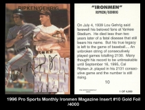1996 Pro Sports Monthly Ironmen Magazine Insert #10 Gold Foil