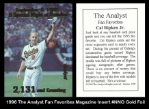 1996 The Analyst Fan Favorites Magazine Insert #NNO Gold Foil