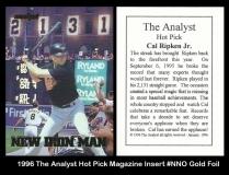 1996 The Analyst Hot Pick Magazine Insert #NNO Gold Foil