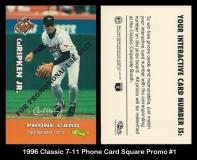 1996 Classic 7-11 Phone Card Square Promo #1