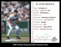 1997 Orioles Postcards #29 Facsimile Auto