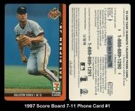 1997 Score Board 7-11 Phone Card #1