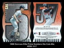 1998 Donruss Elite Prime Numbers Die Cuts #4a