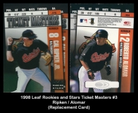 1998 Leaf Rookies and Stars Ticket Masters #3 Replacement Card