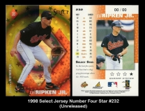 1998 Select Jersey Number Four Star #182