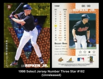 1998 Select Jersey Number Three Star #182
