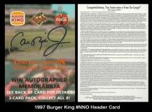 1997 Burger King #NNO Header Card