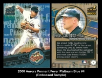 2000 Aurora Pennant Fever Platinum Blue #4 Embossed Sample