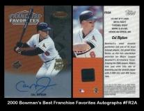 2000 Bowmans Best Franchice Favorties Autographs #FR2A Ripken