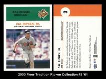 2000 Fleer Tradition Ripken Collection #3 '61