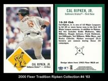 2000 Fleer Tradition Ripken Collection #4 '63