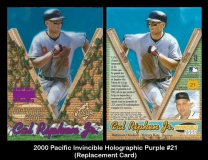 2000 Pacific Invincible Holographic Purple #21 Replacement Card