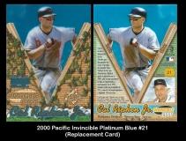 2000 Pacific Invincible Platinum Blue #21 Replacement Card