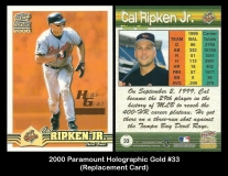 2000 Paramount Holographic Gold #33 Replacement Card