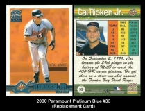 2000 Paramount Platinum Blue #33 Replacement Card