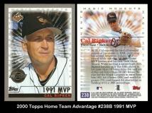 2000 Topps Home Team Advantage #238B 1991 MVP
