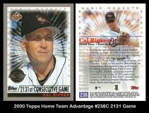 2000 Topps Home Team Advantage #238C 2131 Game