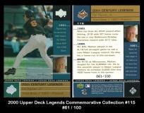 2000 Upper Deck Legends Commemorative Collection #115