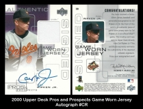 2000 Upper Deck Pros and Prospects Game Worn Jersey Autograph #CR