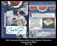 2001 Absolute Memorabilia Home Opener Souvenirs Autographs #OD2