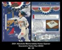 2001 Absolute Memorabilia Home Opener Souvenirs Home Run #OD2