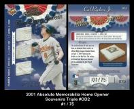 2001 Absolute Memorabilia Home Opener Souvenirs Triple #OD2
