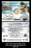 2001 Fleer Futures Bats to the Future Game Bat Autograph #17
