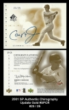 2001 SP Authentic Chirography Update Gold #SPCR