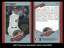 2001 Donruss Baseball's Best Gold #203