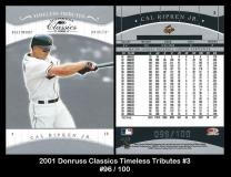 2001 Donruss Classics Timeless Tributes #3