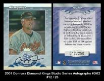2001 Donruss Diamond Kings Studio Series Autographs #DK2