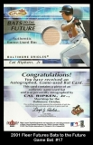 2001 Fleer Futures Bats to the Future Game Gat #17