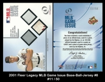 2001 Fleer Legacy MLB Game Issue Base-Ball-Jersey #8