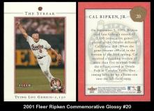 2001 Fleer Ripken Commemorative Glossy #20