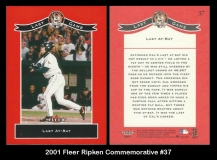 2001 Fleer Ripken Commemorative #37