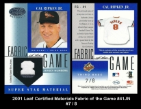 2001 Leaf Certified Materials Fabric of Game #41JN