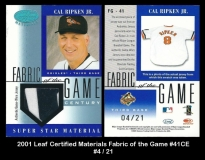 2001 Leaf Certified Materials Fabric of the Game #41CE